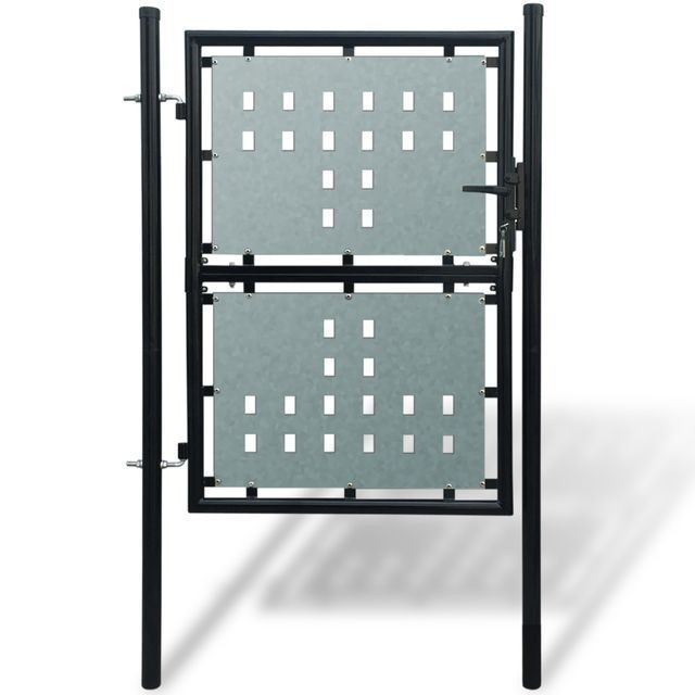 Poartă pentru gard simplă, negru, 100 x 250 cm foto mare
