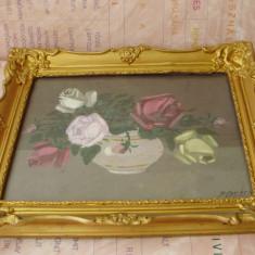 Tablou semnat pictor maghiar - Pictor strain, Natura statica, Ulei, Miniatural