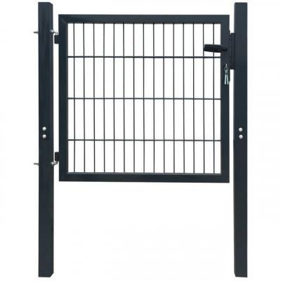 Poartă 2D pentru gard (simplă) 106 x 130 cm, gri antracit foto