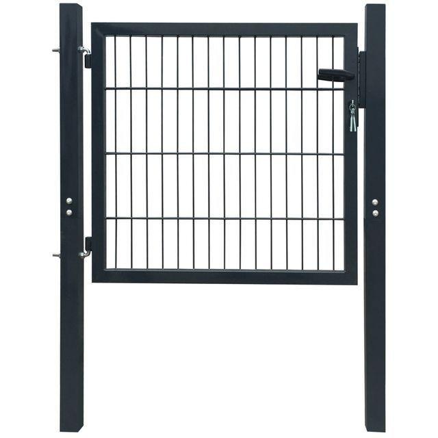 Poartă 2D pentru gard (simplă) 106 x 130 cm, gri antracit foto mare