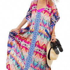 RV406 Rochie de plaja stil caftan cu imprimeu multicolor - Rochie de zi, Marime: S/M