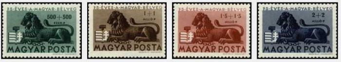 Ungaria 1946 - 75 ani de la primul timbru unguresc, serie neuzat foto mare