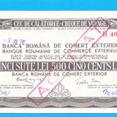 Bon 500 lei Cec de Calatorie Cheque de Voyage 3 - Bancnota romaneasca