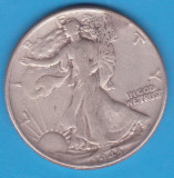 (1) MONEDA DIN ARGINT SUA - HALF DOLLAR 1943, FARA LITERA, WALKING LIBERTY