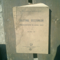 Buletinul deciziunilor pronuntate in anul 1921 volumul LVIII - Andrei Radulescu - Carte Istoria dreptului