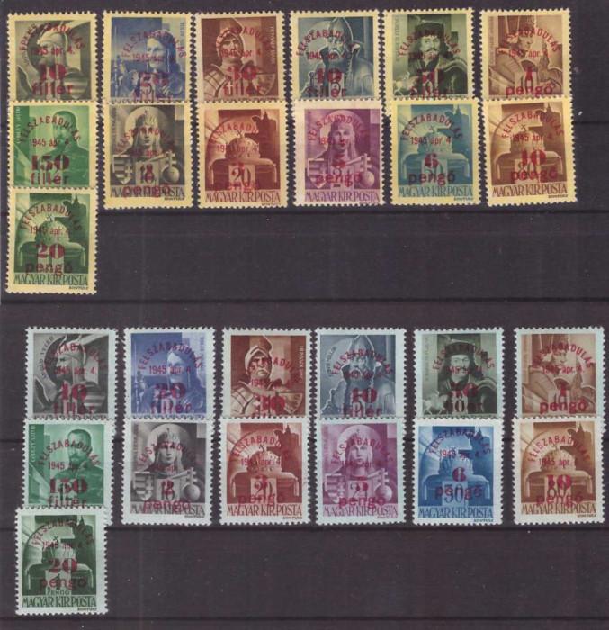Ungaria 1945 - Eliberarea, supr. serie neuzata h galbena&albastr foto mare