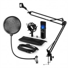 Auna MIC-900B-LED, USB, set de microfon, set V4, negru, microfon condensator, filtru pop, braț de microfon, LED