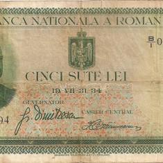 ROMANIA 500 LEI 1934 F - Bancnota romaneasca