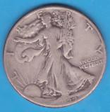 (1) MONEDA DIN ARGINT SUA - HALF DOLLAR 1944, FARA LITERA, WALKING LIBERTY, America de Nord