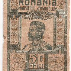 ROMANIA 50 BANI 1917 U - Bancnota romaneasca