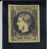 ROMANIA 1867 LP 18 a CAROL  I CU FAVORITI  VAL.  2  NEGRU/GALBEN  HARTIE SUBTIRE, Nestampilat