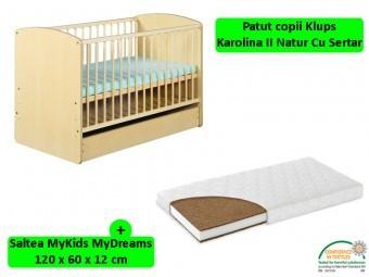 Patut copii cu sertar KLUPS Karolina II+Saltea 12cm foto
