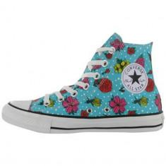 Tenesi Converse Hi Top Floral Dot Trainers marimea 36.5 - Tenisi dama Converse, Culoare: Albastru, Textil