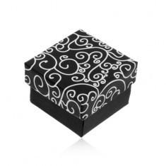 Cutiuță pentru inel, cercei sau pandantiv, în culorile alb-negru, model cu spirale