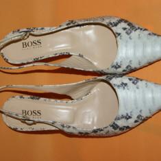 Pantofi piele naturala imprimeu sarpe Hugo Boss originali - Pantof dama Hugo Boss, Culoare: Multicolor, Marime: 38.5, Cu talpa joasa