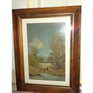 Pictura in ulei o lucrare veche semnata,47 cm cu 33