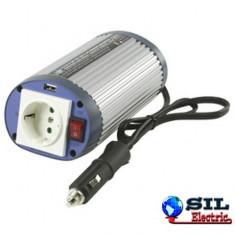 Invertor de tensiune 12V-230V, 150W, iesire USB 5V, HQ