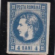 ROMANIA 1868 LP 23 CAROL I CU FAVORITI 4 BANI ALBASTRU POINCON L. PASCANU - Timbre Romania, Nestampilat