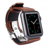 Bratara Piele Apple Watch 42mm Kakapi Double Buckle Maro Blister