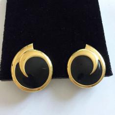 CERCEI CLIPSURI PLACATI CU AUR - DESIGN MONET - Cercei placati cu aur