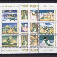 ROMANIA 2003, LP 1613, CENTENARUL VICTOR BRAUNER BLOC MNH - Timbre Romania, Nestampilat