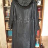 Haină lungă de piele de damă - haina de blana