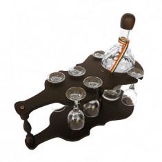 Minibar chitara din lemn cu sticla si 6 paharute cu picior CDT-30S-OSH - Suport sticla vin