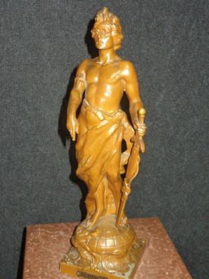 Statueta antica perioada anilor 1900 din antimoniu ,stare foarte buna,44 cm h foto