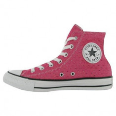 Tenesi Converse Hi Top Perforated Trainers marimea 36.5 - Tenisi dama Converse, Culoare: Roz, Textil