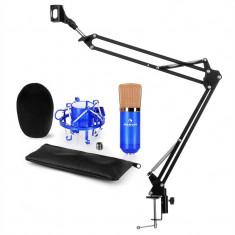 Auna CM001BG V3, albastru, set de microfon, microfon XLR cu condensator, braț de microfon