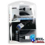 Cablu HDMI tata HDMI tata Aluminiu + LED 1.5m Konig
