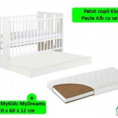 Patut Din Lemn cu sertar Klups Paula Alb+saltea 12Cm - Patut lemn pentru bebelusi