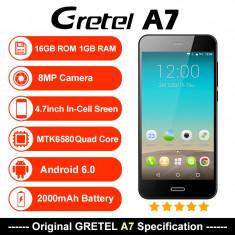 Smartphone Gretel A7, Nou, Ecran 4.7inch HD Gorilla Glass, Quad-Core, 1gb, 16gb, 8mpx,, Negru, Neblocat, Dual SIM
