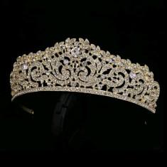 Diadema / coronita / tiara mireasa aurie cu cristale tip Swarovski - Tiare mireasa