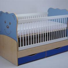 Patut Transformabil Mykids Teddy Natur-Albastru Cu Leganare - Patut lemn pentru bebelusi