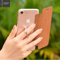 Husa slim Hoco, iPhone 7 tip carte, MARO cu spate transparent si inel sustinere - Husa Telefon