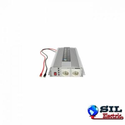Invertor tensiune cu incarcator 12V DC -> 230V AC, 1000W, unda sinusoidala modificata HQ foto