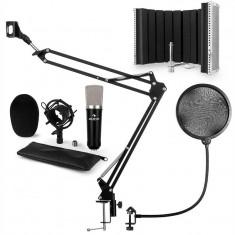 Auna CM0003 V5, negru, set de microfon, microfon cu condensator, braț de microfon, XLR