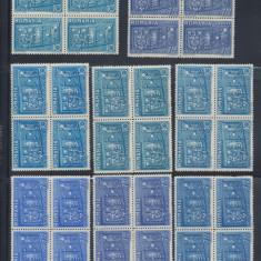 ROMANIA 1937 Antanta Balcanica 6 probe de culoare in bloc de 4 MNH, OG + seria x4 - Timbre Romania, Nestampilat