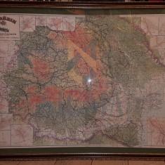 GENERAL CONST. TEODORESCU - ROMANIA MARE - HARTA AUTOMOBILA [ cu planurile principalelor orase ], 115 CM X 168 CM, 1928