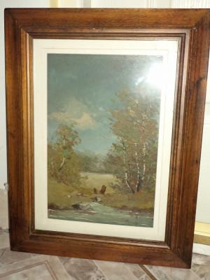 Pictura in ulei o lucrare veche semnata,47 cm cu 33 foto