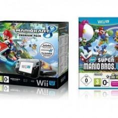 Consola Nintendo Wii U Premium Pack Black + 3 jocuri: MK 8 + NSMBU + NSLU