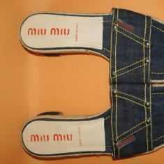 Saboti denim MIU MIU by Prada originali marimea 40 - Sabot dama, Culoare: Bleumarin