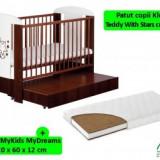 Patut KLUPS Teddy Stars Wenge cu sertar+Saltea 12cm - Patut lemn pentru bebelusi
