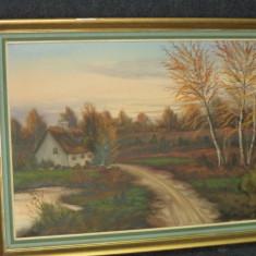 Pictura in ulei pe panza o lucrare foarte veche semnata,76 cm cu 46