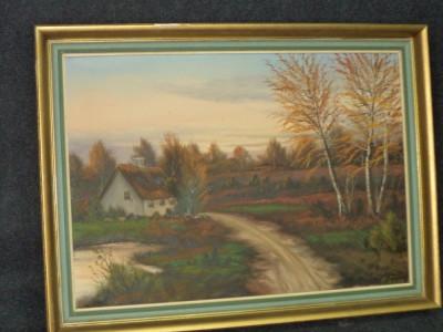 Pictura in ulei pe panza o lucrare foarte veche semnata,76 cm cu 46 foto