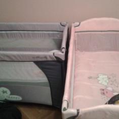 Patut pliant bebe Moni Sleepy roz - Patut pliant bebelusi Moni, 120x60cm