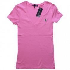 Tricou RALPH LAUREN - Tricouri Dama, Femei - 100% AUTENTIC - Tricou dama, Marime: M, Culoare: Roz, Cu aplicatii, Maneca scurta, Casual