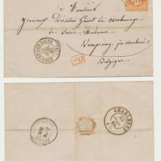 FRANTA 1865 plic clasic cu timbru Napoleon 40 Cts Enghien-Les-Bains spre Belgia