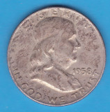 (1) MONEDA DIN ARGINT SUA - HALF DOLLAR 1958, LIT. D, BEN FRANKLIN, America de Nord